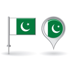 Pakistani pin icon and map pointer flag vector image vector image