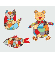 Patchwork toys vector image