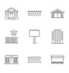 Public building icons set outline style vector