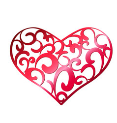 red openwork heart on a white background vector image vector image