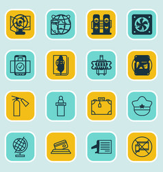 Set of 16 travel icons includes airport card vector