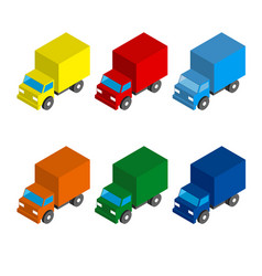 Set of colored isometric 3d cargo trucks vector