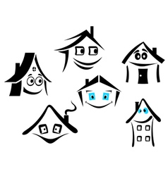 set of smiling houses vector image