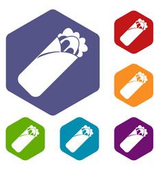 Shawarma sandwich icons set hexagon vector