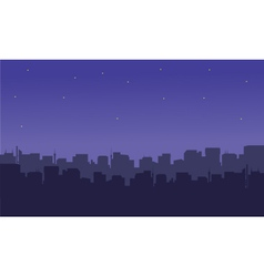 Silhouette of the city with a star vector
