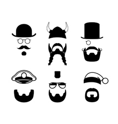 Silhouettes parts of face mustache beard hair vector