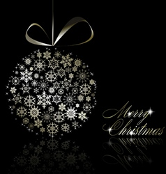 silver merry christmas postcard vector image