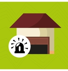 Smart home with alarm isolated icon design vector