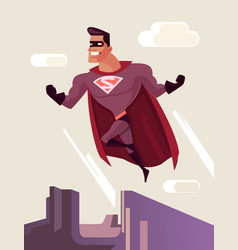 Superhero character jumping from roof vector