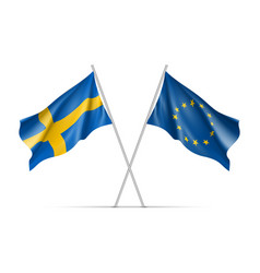 Sweden and european union waving flags vector