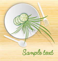 white plate with cucamber and grass vector image vector image
