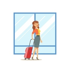Woman arriving with big suitcase part of airport vector