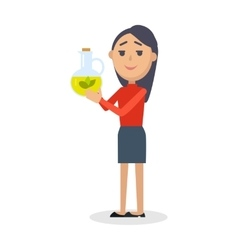 Woman with bottle of virgin olive oil flat vector