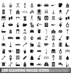 100 cleaning house icons set simple style vector image vector image