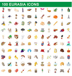 100 eurasia icons set cartoon style vector
