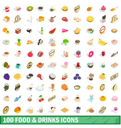 100 food and drinks icons set isometric 3d style vector