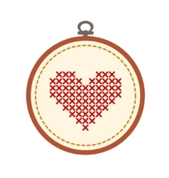 Embroidery hoop with heart isolated on white vector