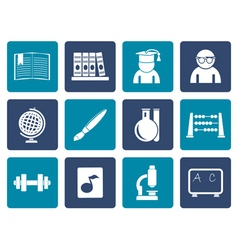 Flat school and education icons vector