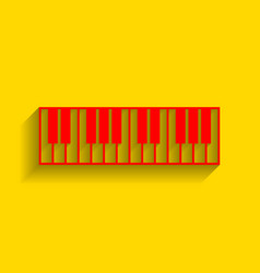 Piano keyboard sign  red icon with soft vector