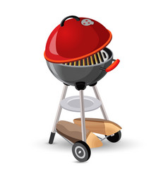 Portable round barbecue with cap bbq grill icon on vector