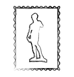 Blurred contour frame of sculpture david made by vector