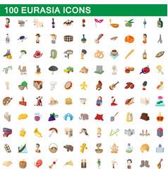 100 eurasia icons set cartoon style vector