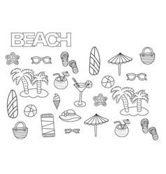 hand drawn beach set coloring book page vector image