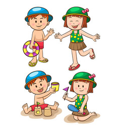 children sea vacation girls and boys vector image