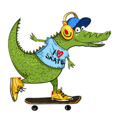 cartoon image of amazing skateboarding alligator vector image