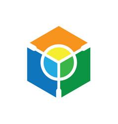 hexagon circle geometric shape colorful logo vector image