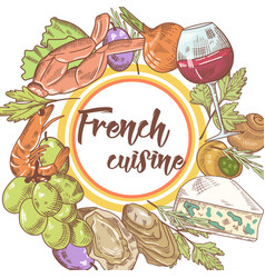 French cuisine hand drawn background with cheese vector