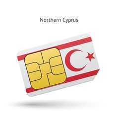 Northern cyprus mobile phone sim card with flag vector