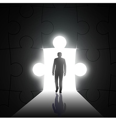 silhouette of man on a background of the hole in vector image