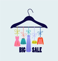 Hanger with fashion women summer clothing vector