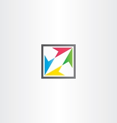 Square icon with colorful arrows vector