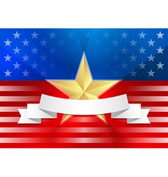 American flag with gold star and ribbon vector