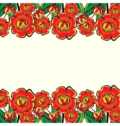 Large red flowers border vector
