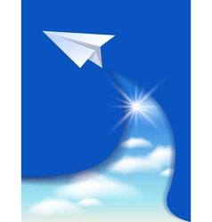 Flyer template with paper airplane vector