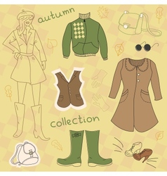 Autumn clothes set vector image vector image