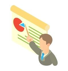 Businessman giving presentation with a board icon vector image