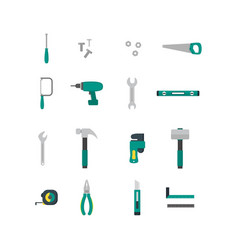 Cartoon hand tools color icons set vector