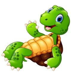 cute cartoon of a waving turtle vector image vector image
