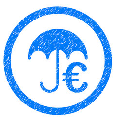 euro umbrella rounded icon rubber stamp vector image