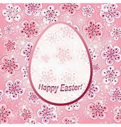 Gentle pink floral greeting frame happy easter vector