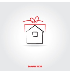 Gift house icon vector