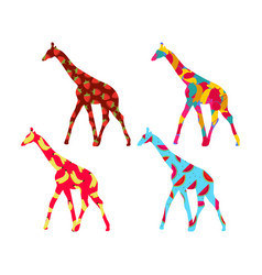 Giraffe with a pattern of berries and fruit vector