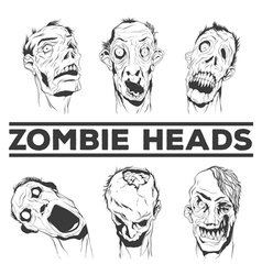 Hand drawn zombie heads vector