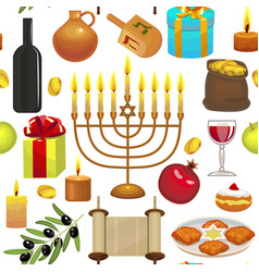 hanukkah celebration pattern vector image vector image