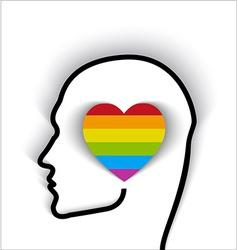 Head contour with heart gay flag color vector