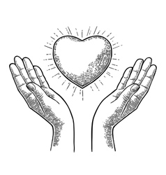 Heart with rays in open female human palms vector image vector image